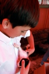 Nicolas and a kitten. I can think of better people to be in charge of a kitten.